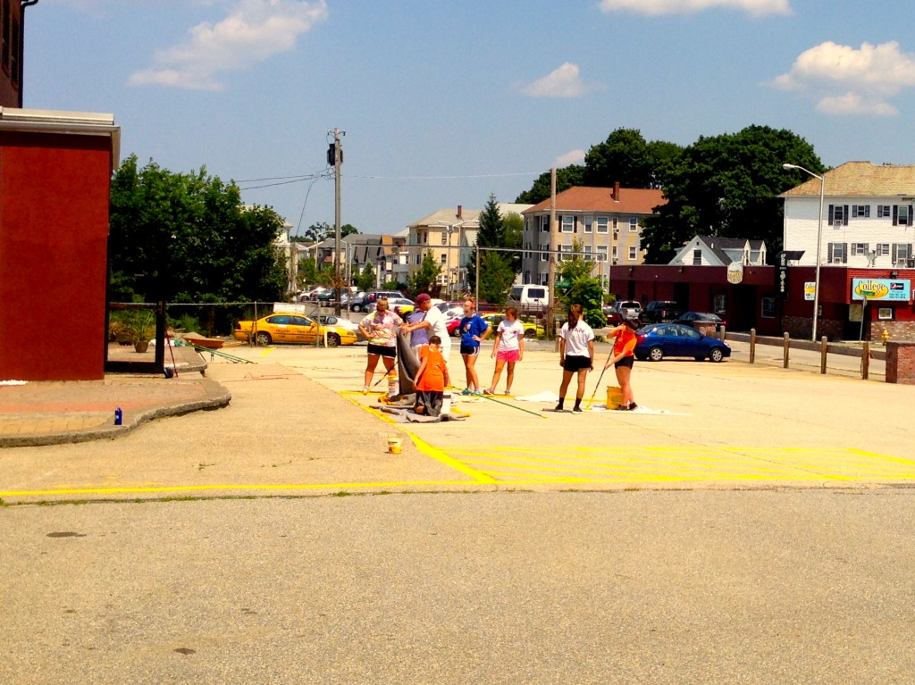 Young Neighbors striping the parking lot...
